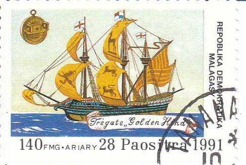 "Марка поштова гашена. ""Fregate ""Golden Hind"". Repoblika Demokratika Malagasy"". 1991"