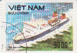 "Марка поштова гашена. """"Buu chinh Tâu Pha Cho toa xe lua"". Việt nam"