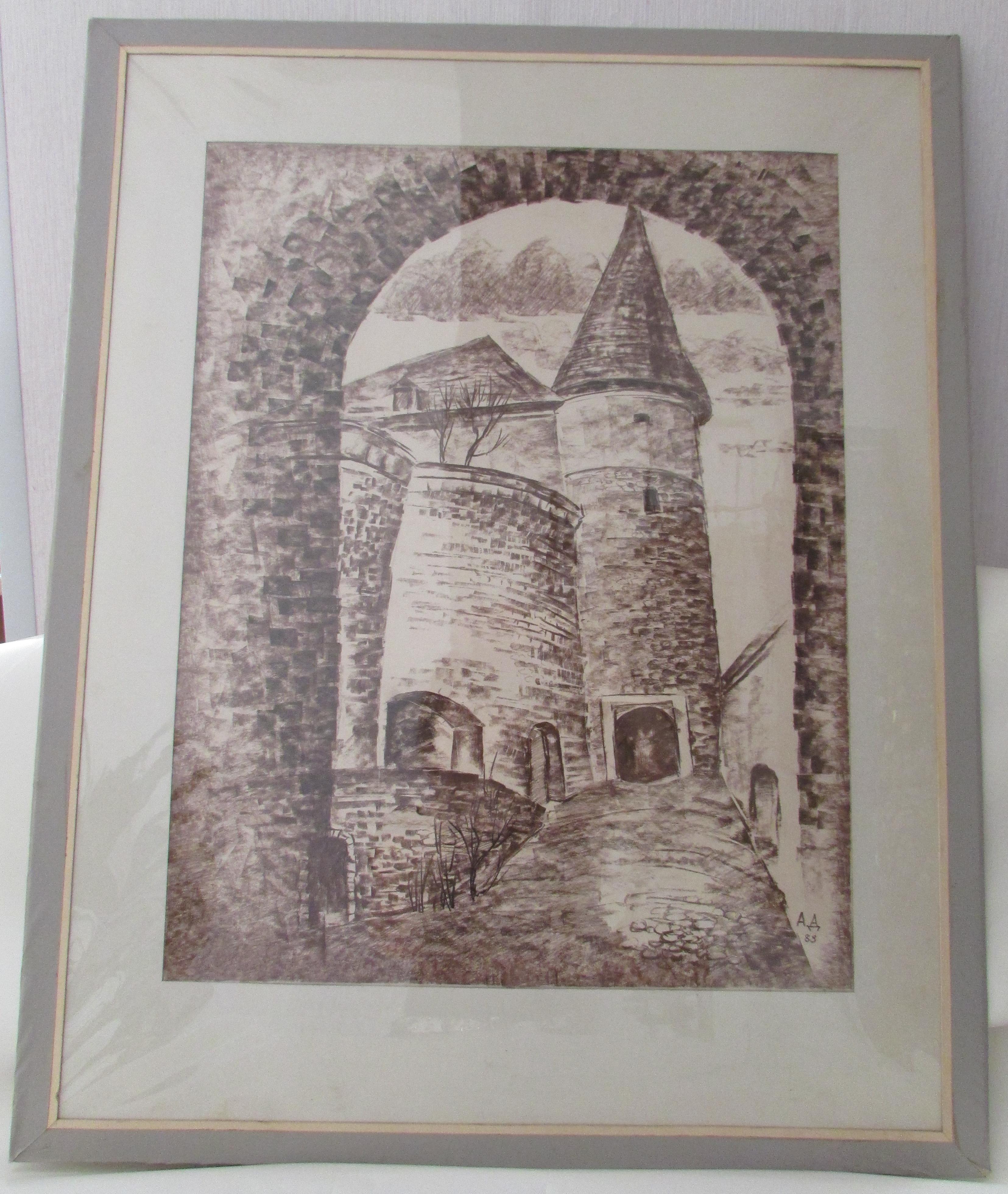 Графіка «Мукачівська фортеця» (фрагмент) А. Т. Домніча