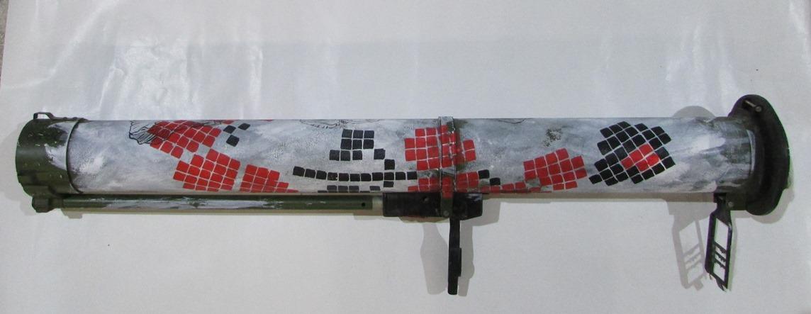 """Речі. """"Тубус від РПГ """"Муха"""", розмальований народними орнаментами бійцями-учасниками АТО на передовій"""""""