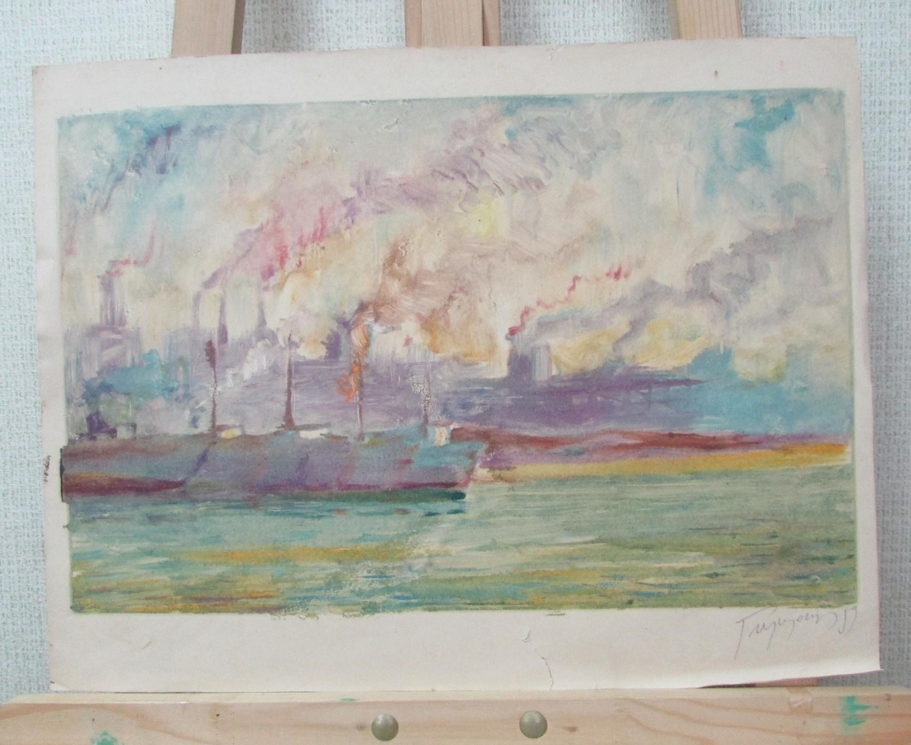 Живопис.  Картина «Річковий пейзаж» М. Глущенка