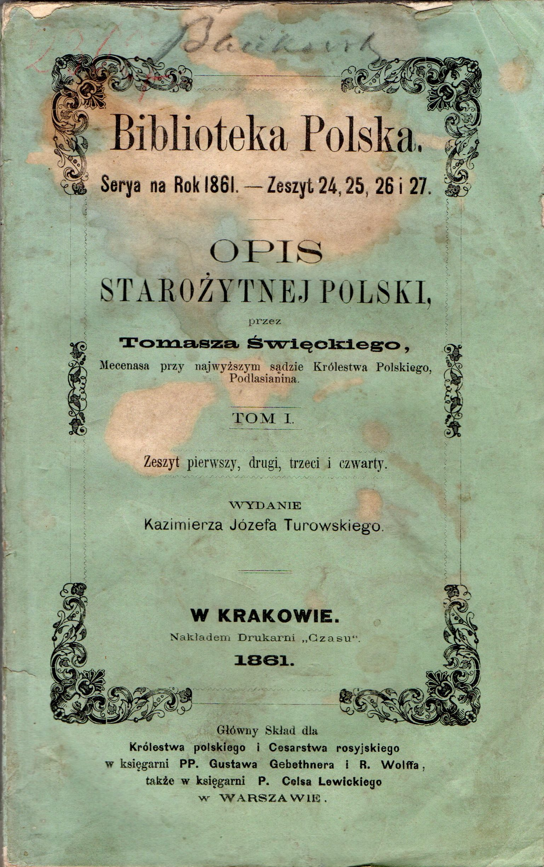 "Книга ""Biblioteka Polska. Opis starożytnej Polski. Tom I"""