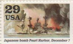 """Марка поштова негашена. """"Japanesе bomb Pearl Harbor, December 7. USA"""""""
