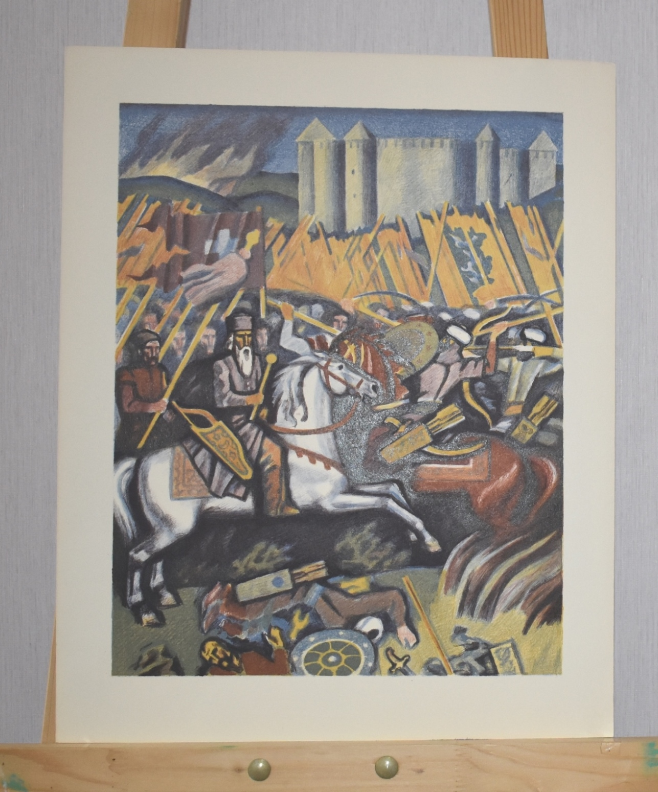 Графіка. Ліногравюра «Хотинська битва» з серії «Українське козацтво. Погляд у минувшину»