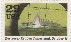 "Марка поштова негашена. ""Destroyer Reuben James sunk October 31. USA"""