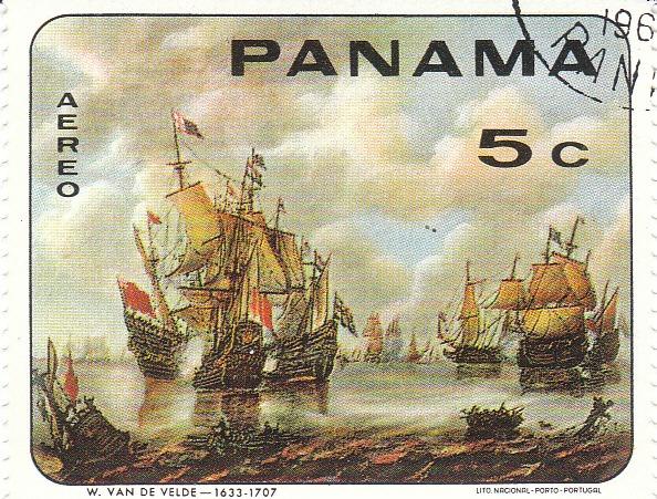 """Марка поштова гашена. """"W. van de Velde - 1633 - 1707 Lito Nacional Porto - Portugal. Panama"""""""