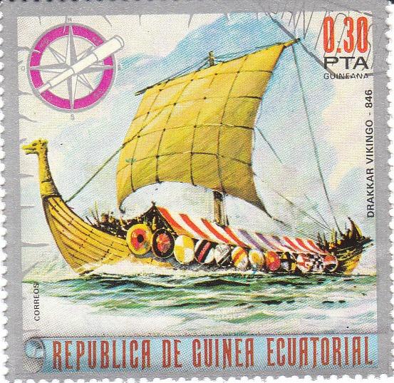 """Марка поштова гашена. """"Drakkar Vikingo. Republika de Guinea Ecuatorial"""""""