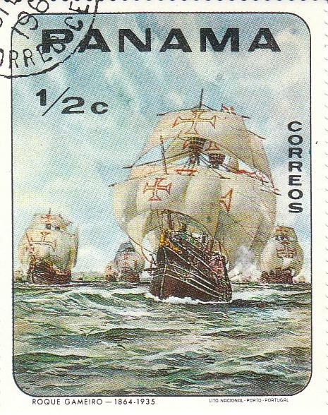 "Марка поштова гашена. ""Roque Gamerio - 1864 - 1935 Lito Nacional Porto - Portugal. Panama"""