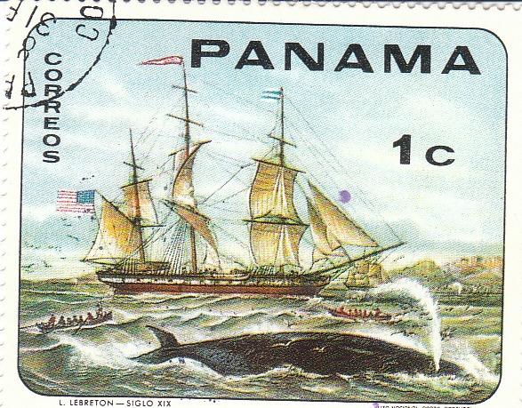 """Марка поштова гашена. """"L. Lebreton - Siglo XIX.  Lito Nacional Porto - Portugal. Panama"""""""