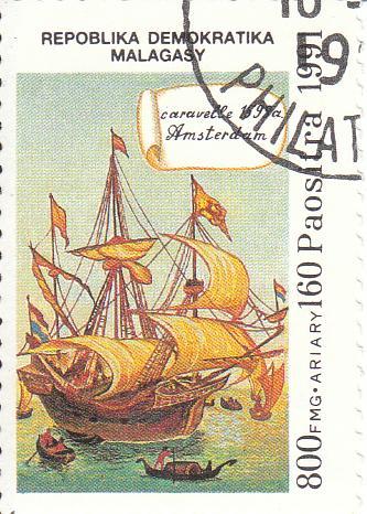 "Марка поштова, гашена ""Caravelle 1595 a. Amsterdam. Repoblika Demokratika Malagasy"""