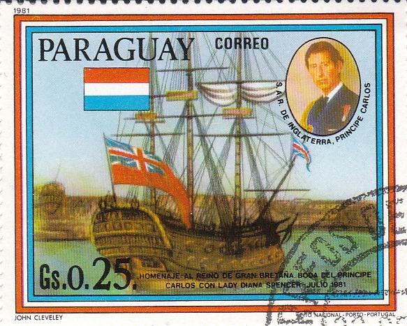 "Марка поштова гашена. ""Jonh Cleveley. Homenaje - al reino de Gran Bretana. Boda del principe Carlos con lady Diana Spenser - Julio 1981. Lito Nacional Porto - Portugal. Paraguay"""