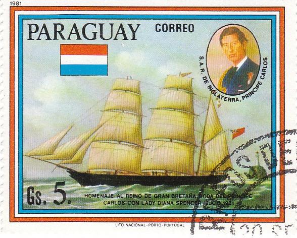 "Марка поштова гашена. ""Homenaje - al reino de Gran Bretana. Boda del principe Carlos con lady Diana Spenser - Julio 1981. Lito Nacional Porto - Portugal. Paraguay"""