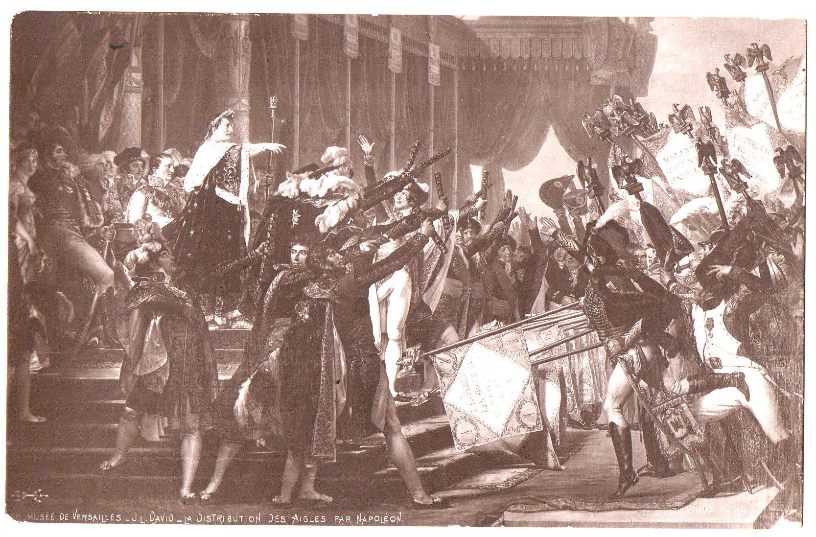 """Поштова листівка. """"Musée de Versailles._ J. L.David._ La distribution des Aigles par Napoléon / Музей """"Версаль""""._ Ж. Л. Давід._  Розподіл Орлів Наполеоном"""""""