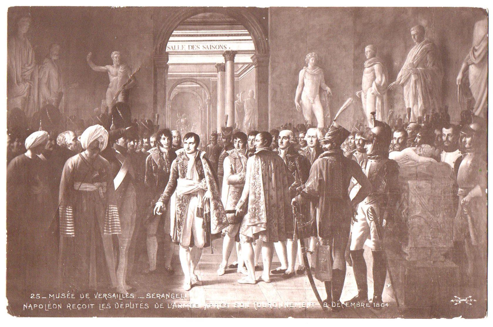 """Поштова листівка.  """"Musée de Versailles._ Goubaud._ Napoléon proclame roi d᾽Italie 19 Mars 1805 / Музей """"Версаль""""._ Губо._ Наполеон проголошує короля Італії 19 березня 1805 р."""""""