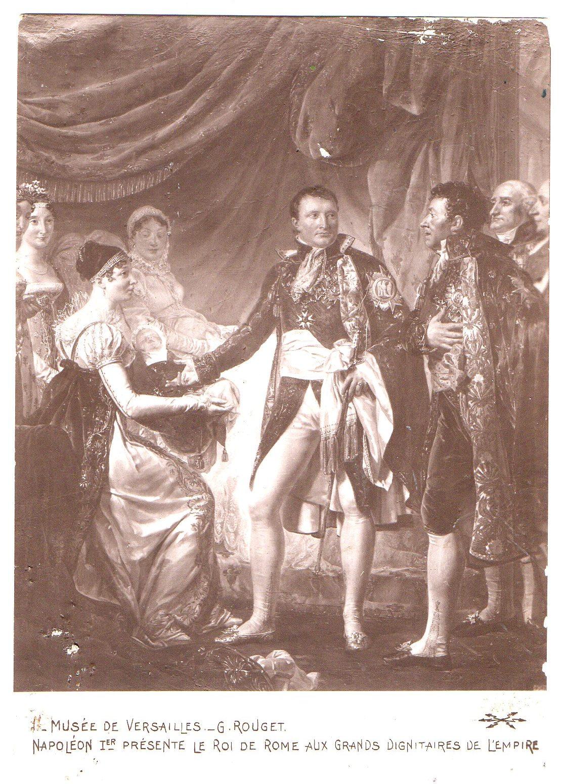 """Поштова листівка. """"Musée de Versailles._ G. Rouget.  Napoléon Ier présente le roi de Rome aux dignitaires de l'Empire / Музей """"Версаль""""._ Ж. Руже. Наполеон I представляє короля Риму сановникам Імперії"""""""