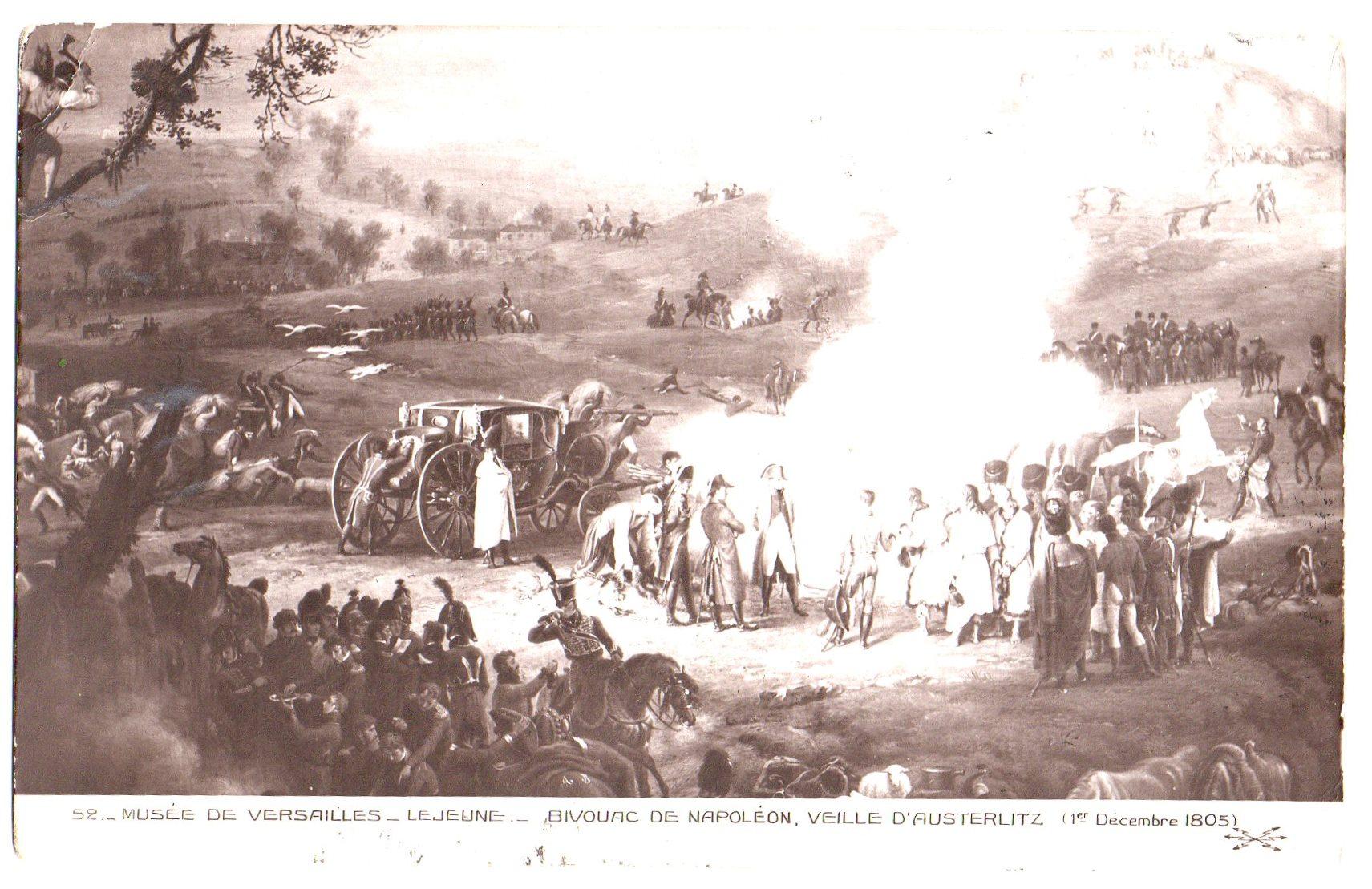 """Поштова листівка. """"Musée de Versailles._ Lejeune._ Bivouac de Napoléon , veille D'Austerlitz (1er Decembre 1805) / Музей """"Версаль""""._ Лежен._ Бівак Наполеона, напередодні Аустерліца (1 грудня 1805)"""""""