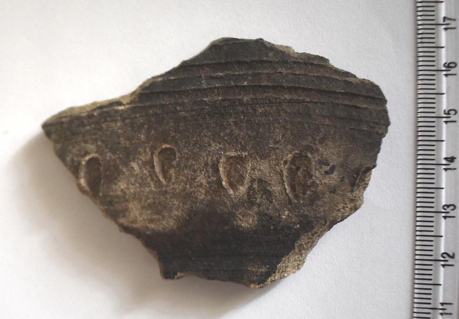 Археологія. Фрагмент стінки гончарної посудини, орнаментованої прокресленими горизонтальними смугами і нігтьовими защипами. Х-ХІІ ст.