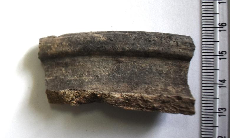 Археологія. Фрагмент гончарної посудини з відігнутим заокругленим краєм вінця. Х-ХІІ ст.