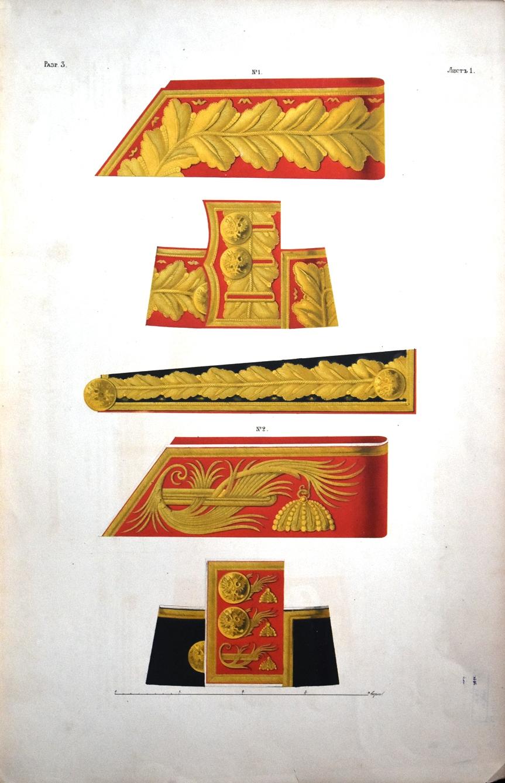 Таблиці кольорові. Ліногравюри, літографії за Вісковатовим. Нагороди. Одяг. Зброя (Разр. 3. Листъ 1. № 1, № 2)