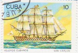 """Марка поштова гашена. """"San Carlos"""". Veleros cubanos. Cuba"""""""