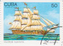 """Марка поштова гашена. """"San Genaro"""". Veleros cubanos. Cuba"""". 1989"""
