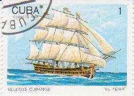 "Марка поштова гашена. ""El Fenix"". Veleros cubanos. Cuba"""