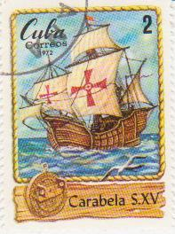 """Марка поштова гашена. """"Carabela S. XV. Cuba"""""""
