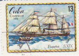 "Марка поштова гашена. ""Pajuebot S. XIX.  Cuba"""