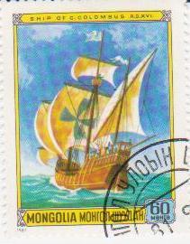 """Марка поштова гашена. """"Ship of C. Colombus A. D. XVI. Mongolia"""""""