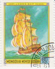 """Марка поштова гашена. """"Capt. J. Cook's ship A. D. XVIII. Mongolia"""""""