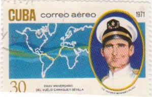 """Марка поштова гашена. """"XXXV aniversario del vuelo Camaguey - Sevilla. TTE Antonio Menendez Pelaez. Cuba""""."""