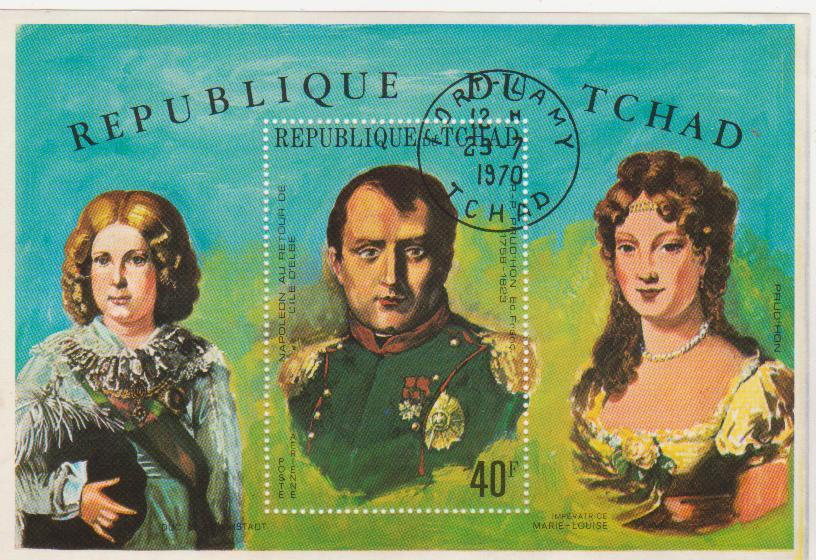 """Марка-блок поштова гашена. """"Napoléon au retour de l'île D'Elbe"""" P. - P. Prud'hon Ec. Franc. 1758-1823. République du Tchad""""."""