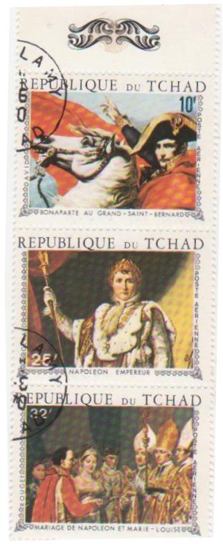 """Блок марок поштовий гашений. """"Наполеон І Бонапарт. République du Tchad""""."""