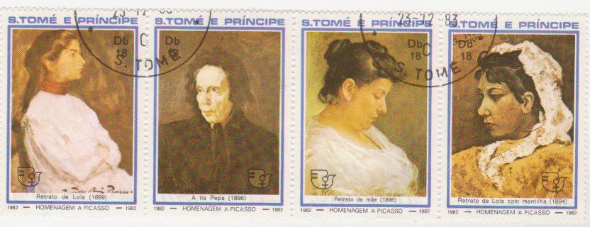 """Блок марок поштовий гашений. """"Homenagem a Picasso. S. Tome e Principe""""."""