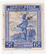 """Марка поштова гашена. """"Congo Belge. Belgisch Congo""""."""