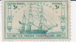 """Марка поштова негашена. """"1797 US Frigate """"Сonstitution"""" 1947"""""""