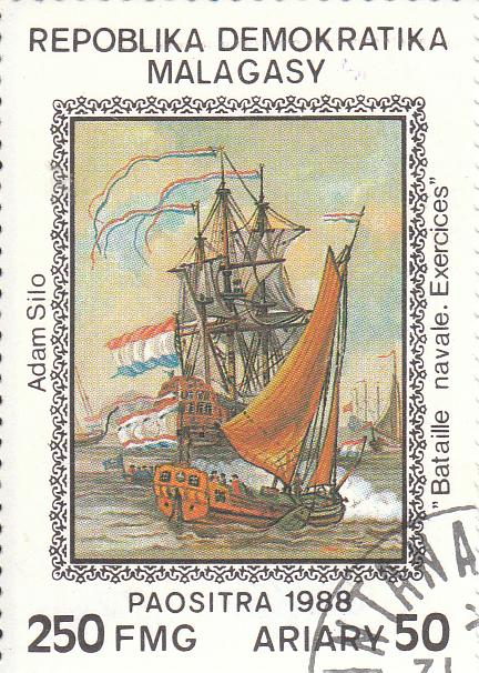 """Марка поштова гашена """"Adam Silo """"Bataille navale. Exercices"""". Repoblika Demokratika Malagasy"""""""