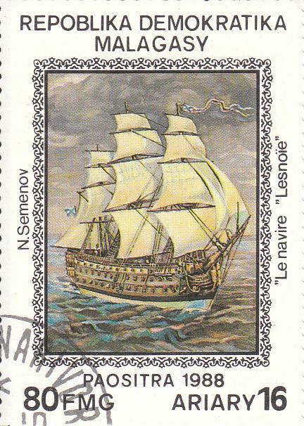 "Марка поштова гашена. ""N. Semenov ""Le navire. ""Lesnoїe"". Repoblika Demokratika Malagasy"""