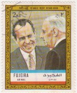 "Марка поштова гашена. ""Paris 1969 : De Gaulle reçoit Richard Nixon""."