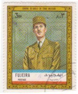 """Марка поштова гашена. """"Général de Gaulle en tenue militaire""""."""