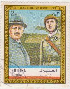 "Марка поштова гашена. ""1939 - Colonel de Gaulle avec President A. Lebrun""."