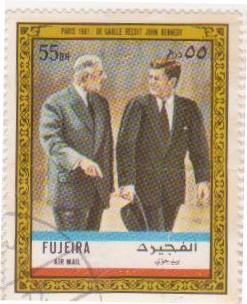 """Марка поштова гашена. """"Paris 1961 : De Gaulle reçoit John Kennedy""""."""