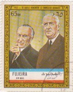 """Марка поштова гашена. """"Paris 1963 : De Gaulle reçoit le Chancelier Adenauer""""."""