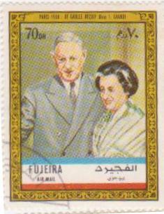 "Марка поштова гашена. ""Paris 1966 : De Gaulle reçoit Mme I. Ghandi""."