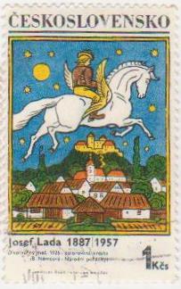 """Марка поштова гашена. """" Джозеф Лада. 1887-1957. """"Чарівний меч"""". 1926 -. Кольоровий малюнок (B. Немцова - національні казки). Ceskoslovensko"""""""