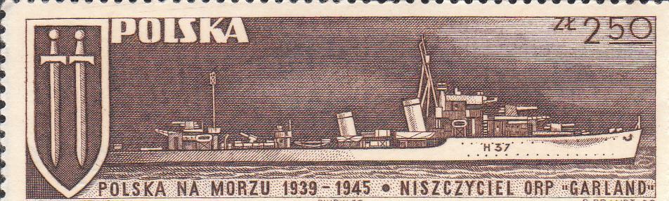 "Марка поштова негашена. ""Niszczyciel ORP ""Garland"". Polska"""