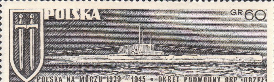 "Марка поштова негашена. ""Okret podwodny ORP ""Orzel"". Polska"""