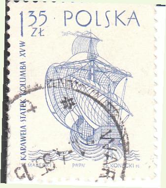 "Марка поштова гашена. ""Karawela statek Kolumba XV w. Polska"""