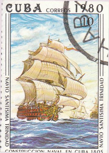 "Марка поштова гашена. ""Navío ""Santísima Тrinidad"". L᾽construccion naval en Cuba 1805"". Республіка Куба. 1980"