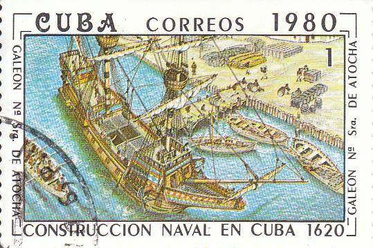 "Марка поштова гашена. ""Galeon Na Sra. de Atocha"". L᾽construccion naval en Cuba 1620"". Республіка Куба. 1980"